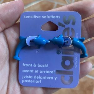 Claire's Blue Dolphin Earrings